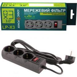 Фильтр сетевой 3,0 м LogicPower, LP-X3 черный 9582