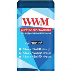 Лента к принтерам 13мм х 12м STD к. Black WWM (R13.12S)