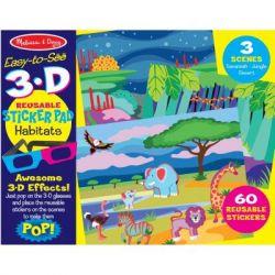 Набор для творчества Melissa&Doug Многоразовые 3D наклейки с очками Места обитания животных (MD9376)