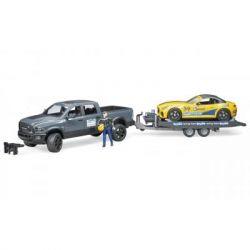 Спецтехника Bruder джип Dodge RAM 2500 с прицепом-эвакуатором и родстером (02504)
