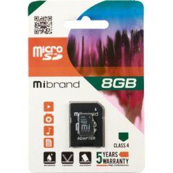 Карта памяти microSDHC, 8Gb, Class4, Mibrand, SD адаптер (MICDC4/8GB-A)