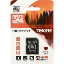 Карта памяти microSDHC, 16Gb, Class10, Mibrand, SD адаптер (MICDHU1/16GB-A)