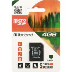 Карта памяти microSDHC, 4Gb, Class4, Mibrand, SD адаптер (MICDC4/4GB-A)
