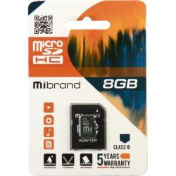 Карта памяти microSDHC, 8Gb, Class10, Mibrand, SD адаптер (MICDHC10/8GB-A)