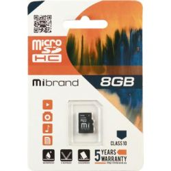 Карта памяти microSDHC, 8Gb, Class10, Mibrand, без адаптера (MICDHC10/8GB)