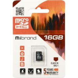 Карта памяти microSDHC, 16Gb, Class10, Mibrand, без адаптера (MICDHU1/16GB)