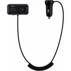 Автомобільний зарядний пристрій Baseus CCTM-E01, T typed S-16, з FM-модулятором, wireless MP3 (English) Black
