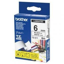 Лента Brother (TZE211) 6mm*8m ламинированная, Black-on-White