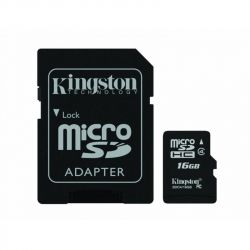 MicroSDHC 16GB Class 4 Kingston + SD-adapter (SDC4/16GB)