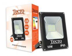 Прожектор LED, Tecro, 50W, 6400K, Black, 3500Lm, 160?, IP65, кабель с заземлением (TL-FL-50B)