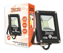 Прожектор LED, Tecro, 10W, 6400K, Black, 700Lm, 160?, IP65, кабель с заземлением (TL-FL-10B-PR) с датчиком движения 8м