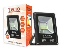 Прожектор LED, Tecro, 20W, 6400K, Black, 1400Lm, 160?, IP65, кабель с заземлением (TL-FL-20B)