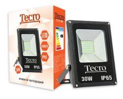 Прожектор LED, Tecro, 30W, 6400K, Black, 2100Lm, 160?, IP65, кабель с заземлением (TL-FL-30B)