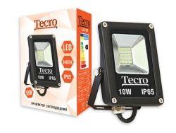 Прожектор LED, Tecro, 10W, 6400K, Black, 700Lm, 160?, IP65, кабель с заземлением (TL-FL-10B)