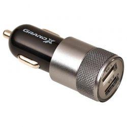 Автомобильное зарядное устройство Grand-X (2xUSB 2.1A) Black (CH-25BM) + microUSB кабель