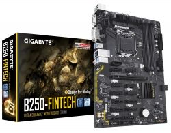 Мат.плата 1151 (B250) Gigabyte GA-B250-FinTech, B250, 4xDDR4, Int.Video(CPU), 6xSATA3, 1xPCI-E 16x 3.0, 11xPCI-E 1x 3.0, ALC887, GLan, 6xUSB3.1/6xUSB2.0, VGA/DVI-D, ATX