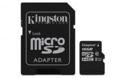 MicroSDHC 16GB UHS-I Class 10 Kingston Canvas Select + SD-адаптер (SDCS/16GB)