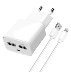 Сетевое зарядное устройство Florence (2xUSB 2A) White (FW-2U020W-L) + кабель Lightning