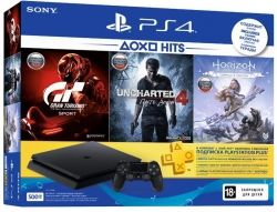 Sony PlayStation 4 500GB Slim Black (HZD+GTS+UC4+PSPlus 3М) + игры Horizon Zero Dawn, Gran Tourismo, Uncharted 4