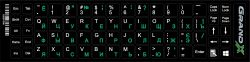 Наклейка на клавиатуру Grand-X 68 keys Cyrillic green, Latin white (GXDPGW)
