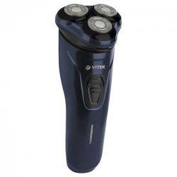 Бритва электрическая Vitek VT-8268 Blue, сухое бритье, роторная (вращательная) система, 3 бритвенных головки, работа от аккумулятора, чистка под струей воды