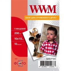 Фотобумага WWM Photo глянцевая 200г/м2 10х15см 10л (G200.F10/C)