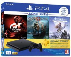 Sony PlayStation 4 1TB Slim (HZD+GOW+GTS+PSPlus 3М) + игры Horizon Zero Dawn, God of War, Gran Tourismo