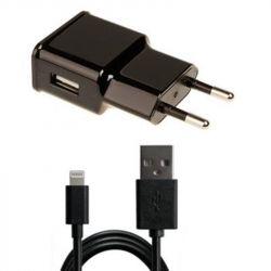 Сетевое зарядное устройство Grand-X (1xUSB 1A) Black (CH765LTB) + кабель Lightning