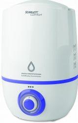 Увлажнитель воздуха Scarlett SC-AH986M17 White/Blue, 23W, ультразвуковой, резервуар для воды 2.3 л, площадь помещения 30 м2, аромакапсула