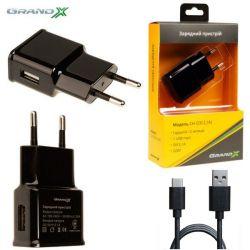 Сетевое зарядное устройство Grand-X (1xUSB 2.1A) Black (CH-03T) + кабель USB Type C