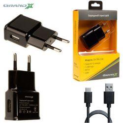 Сетевое зарядное устройство Grand-X (1xUSB 1А) Black (CH-765T) + кабель USB-C