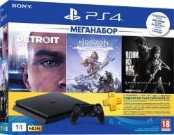 Sony PlayStation 4 1TB Slim + игры Detroit, Horizon, The Last Of Us + PS Plus 3 мес.