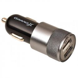 Автомобильное зарядное устройство Grand-X (2USB 2.1A) Black (CH-26)