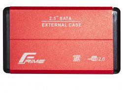 """Карман внешний 2.5"""" Frime (FHE23.25U20) USB 2.0 Red, Metal"""