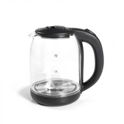 Чайник Holmer HKG-1922B Black, 1800W, 1.8 л, стекло, дисковый, индикатор работы, индикатор уровня воды