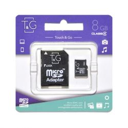 Карта памяти microSDHC, 8Gb, Class4, T&G, SD адаптер (TG-8GBSDCL4-01)