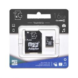 MicroSDHC  16GB Class 4 T&G + SD-adapter (TG-16GBSDCL4-01)