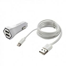 Автомобильное зарядное устройство Aspor A901C (2USB 2.4A) White (920001) + кабель Lightning