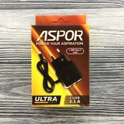 Сетевое зарядное устройство Aspor F14 Ultra Series (2USB 2.1A) Black (925048) + кабель Type-C