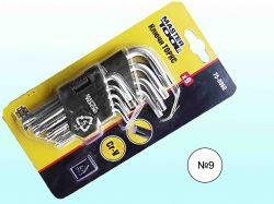 Набір ключів TORX CrV (9шт) короткі L=57125мм арт.750960 ТМ MASTER TOOL