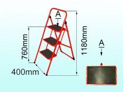 Драбина металева сімейна 3 сход. (з килимком) ТМ ТЕХНОЛОГ