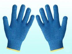 Перчатки робочі 646 сині з синьою ПВХ крапкою ТМ DOLONI