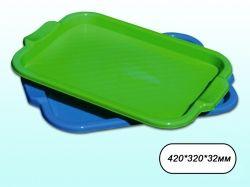 Піднос пластиковий прямокутний 420*320*32мм салатовий ТМ КОНСЕНСУС