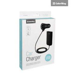 Автомобильное зарядное устройство Colorway 4USB 4.8A с кабелем 1.5м черное