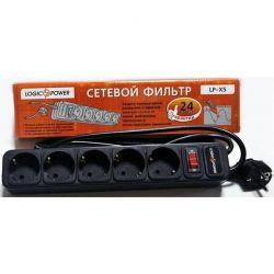 Фильтр сетевой 1,8 м LogicPower, LP-X5, 5 розеток, серый