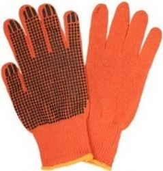 (WE2105) Перчатки ХБ помаранч., чорна крапка WERK