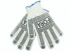 Перчатки робочі 15 000 білі з чорою ПВХ крапкою 10 клас ТМ FORA