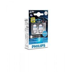 Лампа светодиодная Philips W5W X-Treme Vision LED, 8000K, 2шт/блистер 127998000KX2