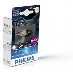Лампа светодиодная Philips Festoon BlueVision LED T10.5x43, 6000K, 1шт/блистер 129466000KX1