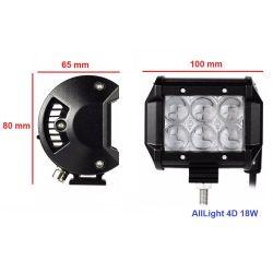 Светодиодная фара AllLight 4D-18W 6 chip cree spot 9-30V (дальний свет)